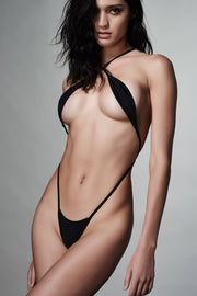 Black crisscross strap one piece swimsuit - Front View