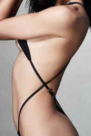 Black crisscross strap one piece swimsuit - Side  View