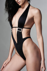 Black Halter One Piece with Rhinestone Buckle - Front View