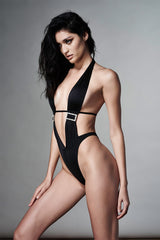 Black Halter One Piece with Rhinestone Buckle - Full Front View