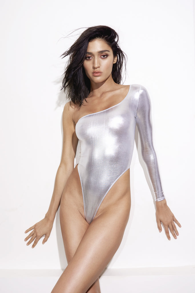 Silver one shoulder one piece swimsuit, low-back and high-cut sides Front View
