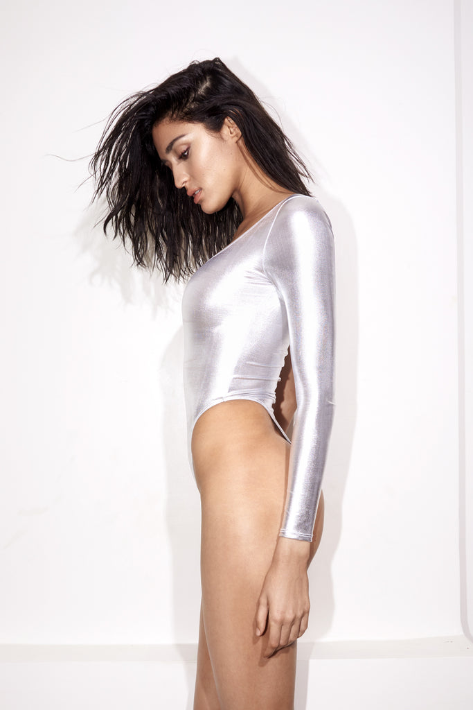 Silver one shoulder one piece swimsuit, low-back and high-cut sides Side View