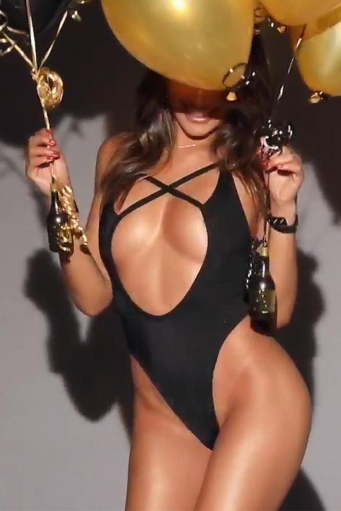 CJ Franco wearing sexy black one piece, playboy mexico, eats channel new years eve video