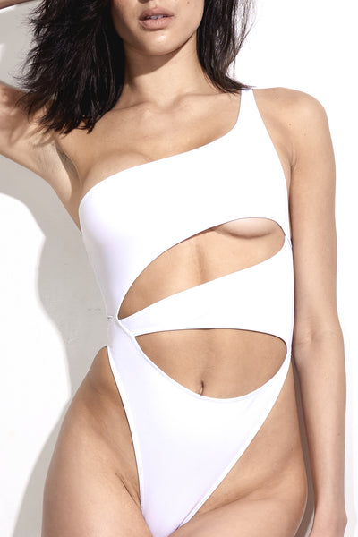 Deni Asymmetrical White one piece with cut outs