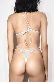 Back metallic silver one shoulder asymmetric two piece with a thong strap and adjustable waist straps