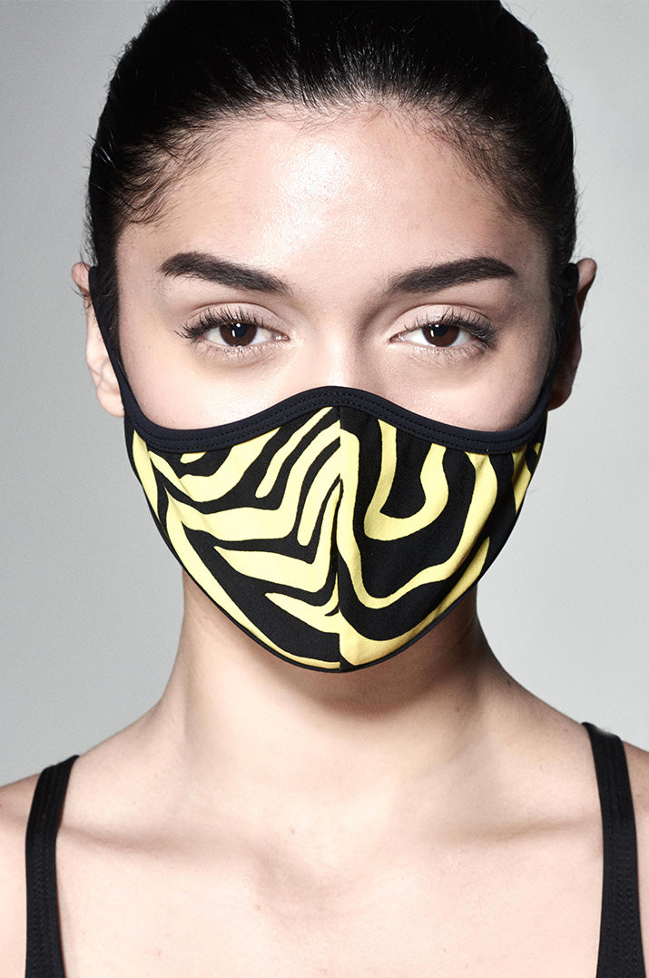 Everyday Face Mask - Black and Yellow Zebra