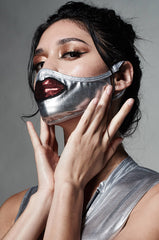 EVERYDAY FACE COVER -  Metallic Silver Mask with Lips