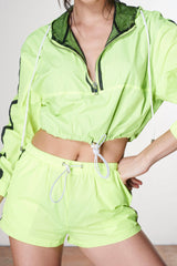 ARON- Fluorescent Yellow Activewear Nylon Short Set