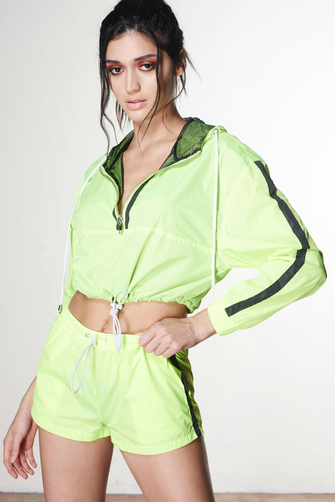 Fluorescent Yellow Activewear Nylon Short Set - ARON