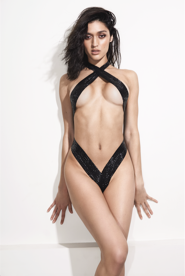 Front View Criss Cross Black Metallic Sexy One Piece - Oliver