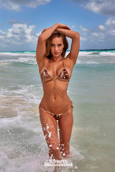 Front View Tiny Gold Sequin Tie String Bikini