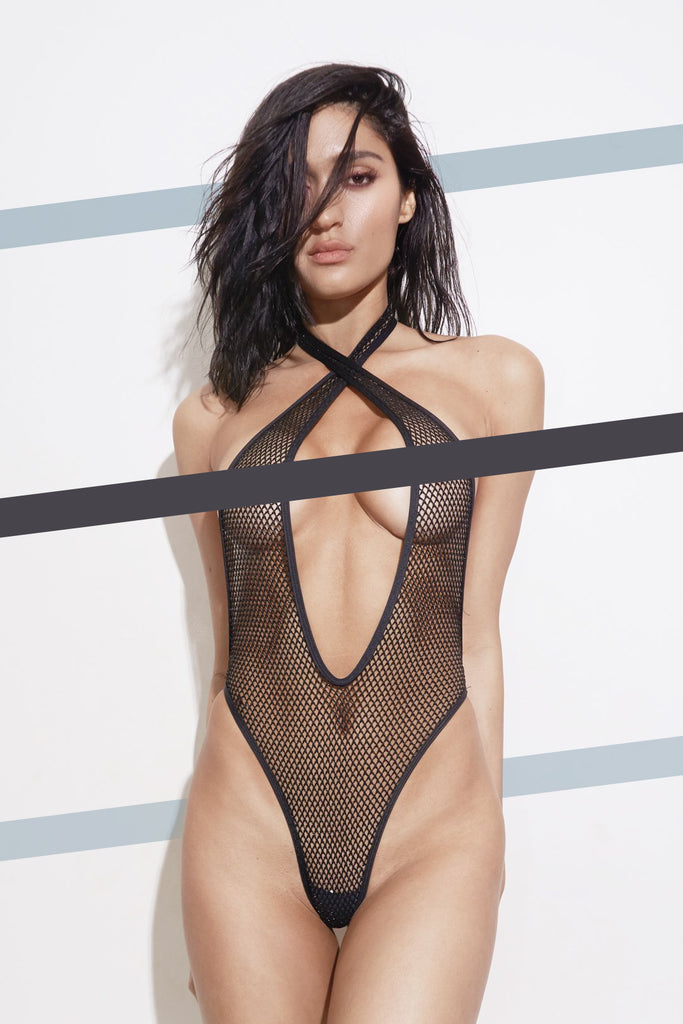 Sheer Black 2 Way Halter One Piece Swimsuit  - Liam