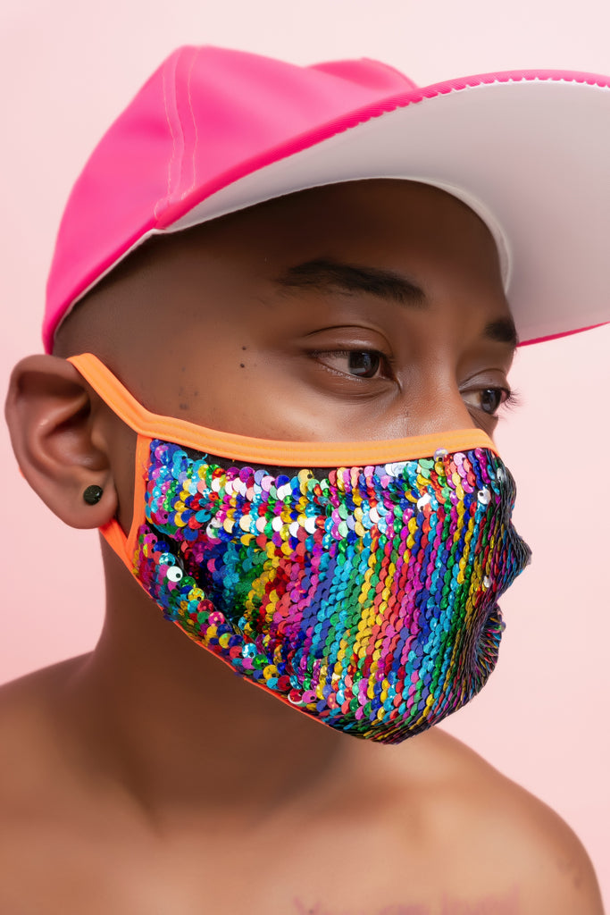 Rainbow Sequin Face Cover