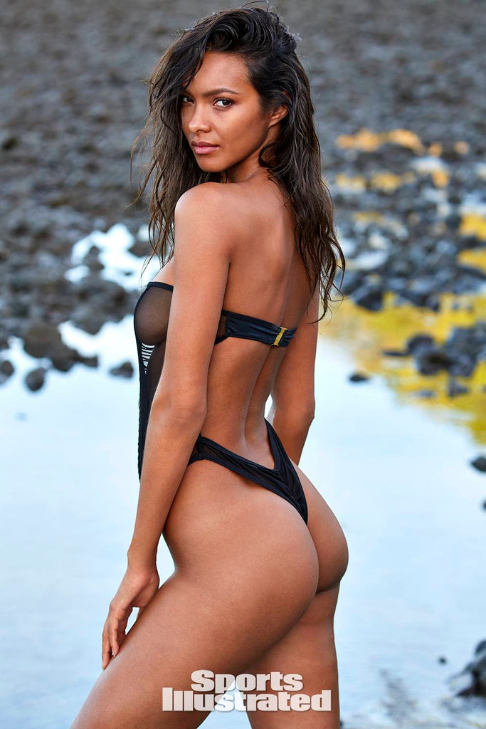 Super Model Lais Ribeiro wearing sheer one piece by Haus of PinkLemonaid