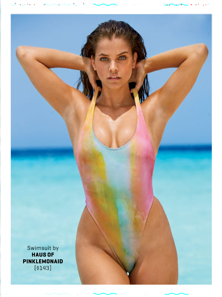 Custom Painted One-Piece Swimsuit scoop neckline, low, back, and high-cut sides As seen in Sports Illustrated Swimsuit Edition