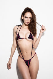Burgundy/Black two piece traingular top bikini with suspenders - GIA