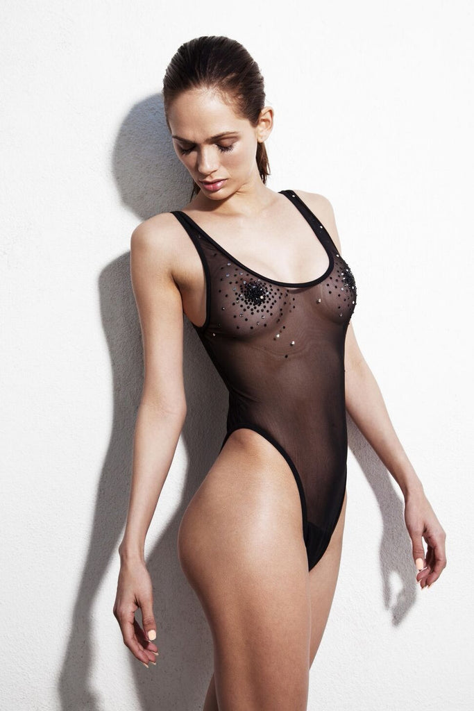 Black Sheer One Piece BathingSuit with Swaroski stone appliqués