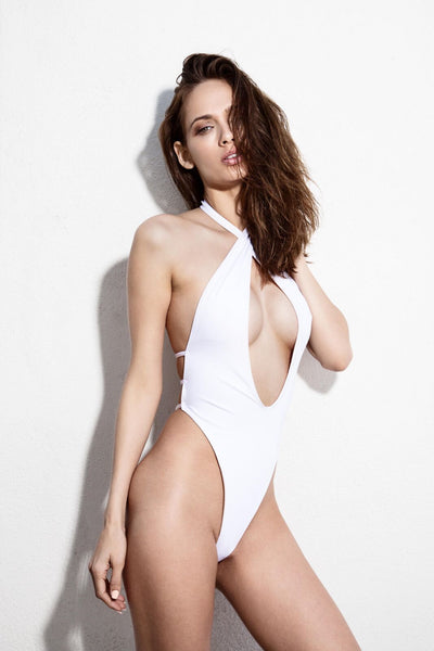 Sexy White Halter Top One Piece Swimsuit
