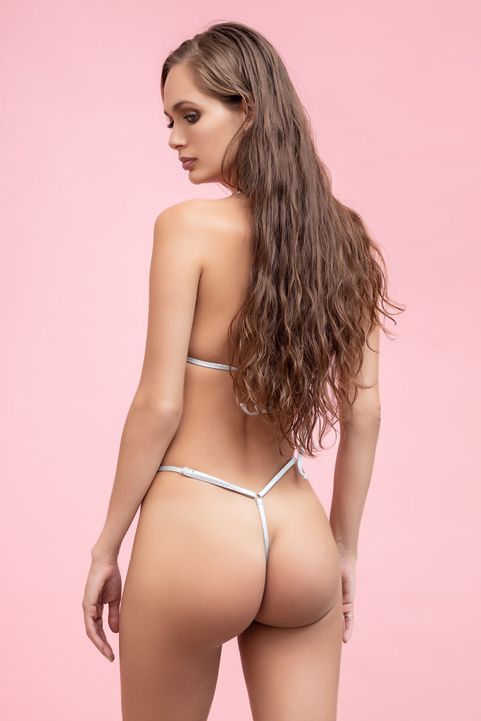 Metallic Chrome G String Bikini -Noah