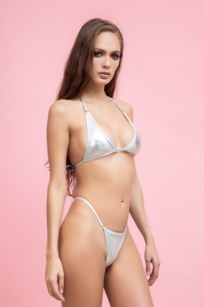 NOAH - Metallic Chrome G String Bikini