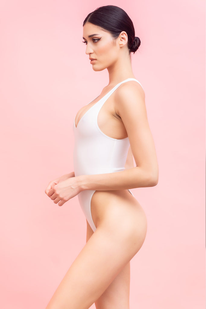 White Tank One Piece Swimsuit - ELLE