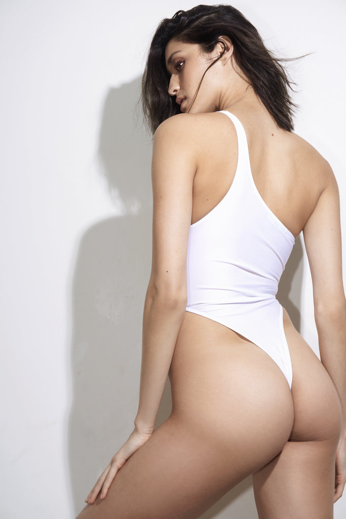 Back View White One Shoulder Cut Out Swimsuit