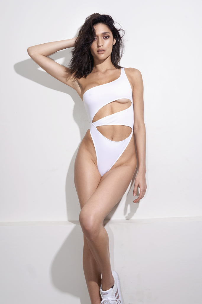Front View White One Shoulder Cut Out Swimsuit