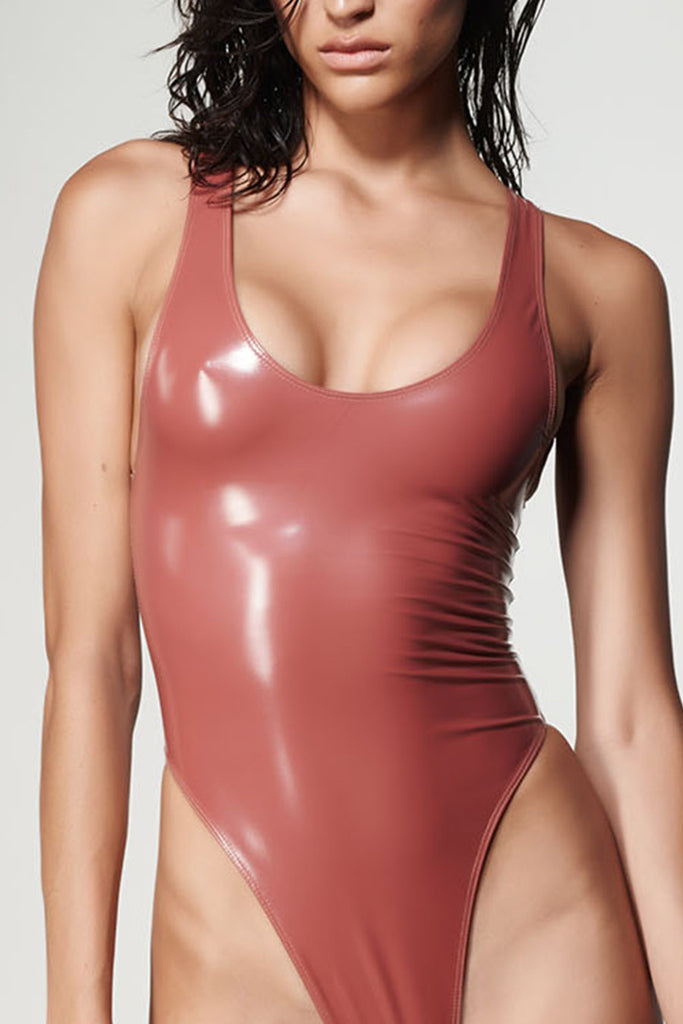 High Rose latex one piece - Crop Front View