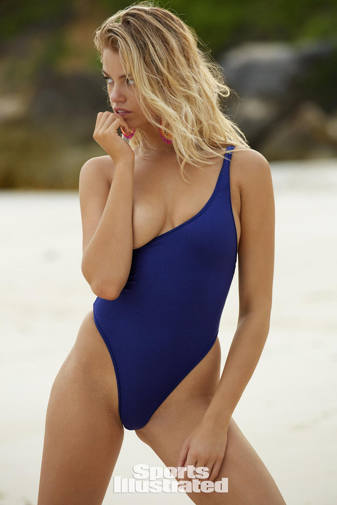 Blue one shoulder one piece swimsuit as seen in S I SWIMSUIT Edition