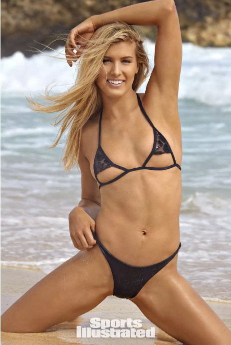 The Justin is tiny tie string bikini with leather strap. Partially lined. As seen on Genie Bouchard in Sports Illustrated Swimsuit.