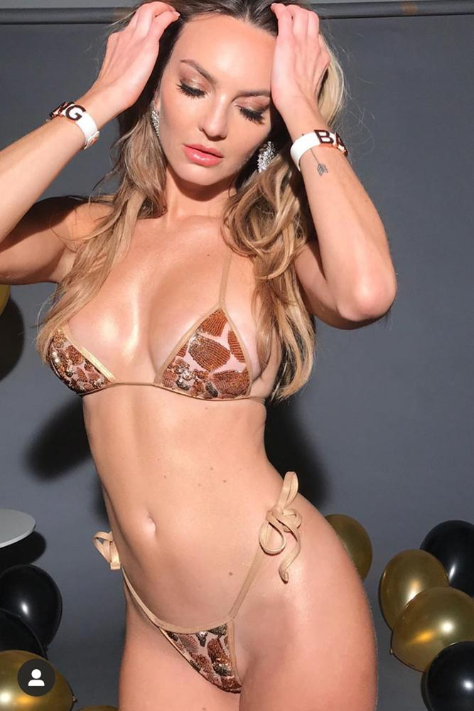 Jocelyn Binder Tiny Sequin Gold Bikini as seen in Eats Channel / Palyboy Mexico New Years Video