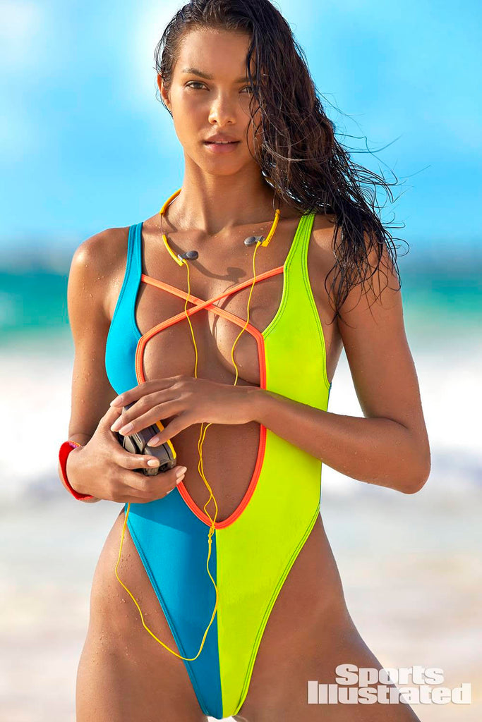 Multi Color Block 90's One-Piece Swimsuit with plunging neckline as seen on Lais Ribeiro in S I SWIMSUIT