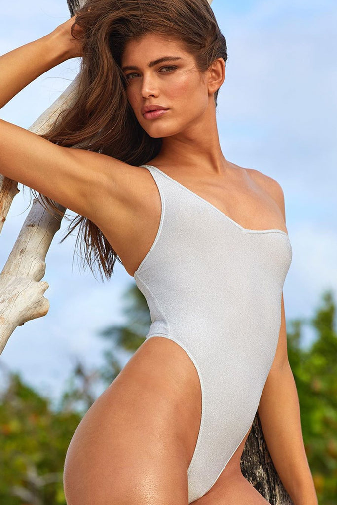 Metallic Shimmer One Shoulder Swimsuit - BARDOT