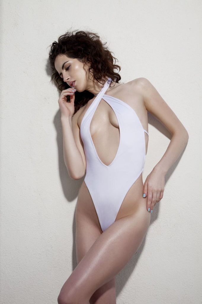 White Halter Top One Piece Swimsuit