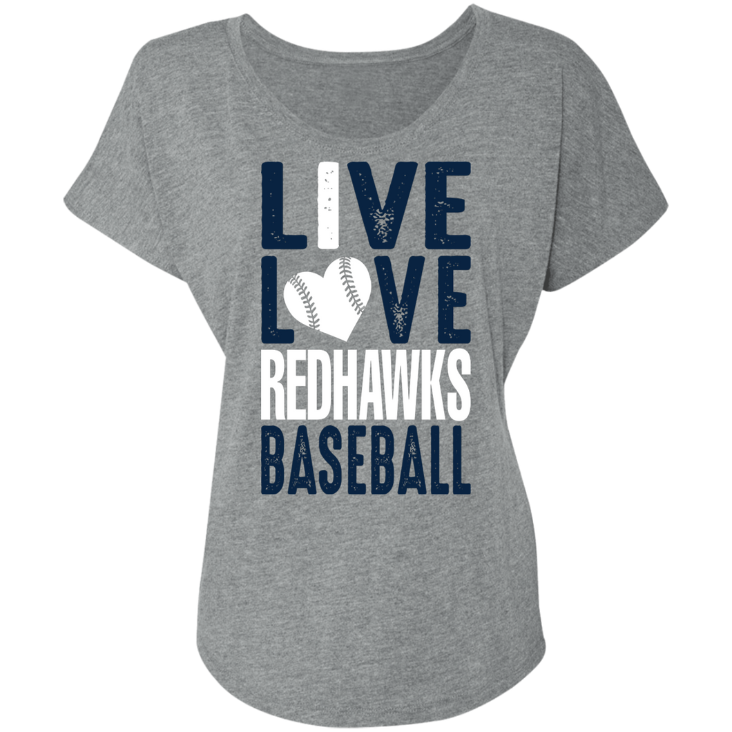 I Live Love RedHawks Baseball Ladies' Triblend Dolman Sleeve