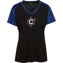 Load image into Gallery viewer, C2 (un)disc2overed Ladies' CamoHex Colorblock T-Shirt
