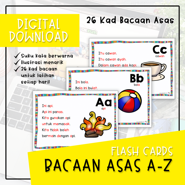 Flash Cards - Bacaan Asas A-Z (Digital Download)