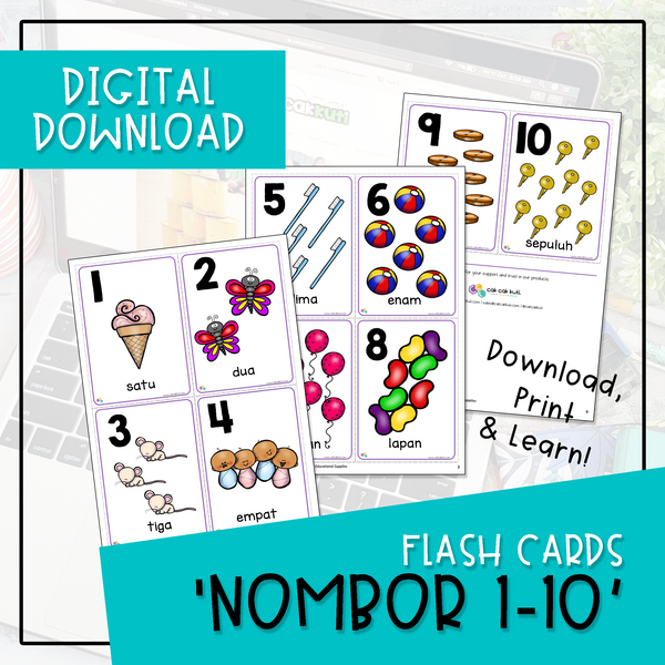 Flash Cards - NOMBOR 1-10 (Digital Download)