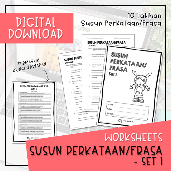 Worksheets - SUSUN PERKATAAN/FRASA SET 1 (Digital Download)