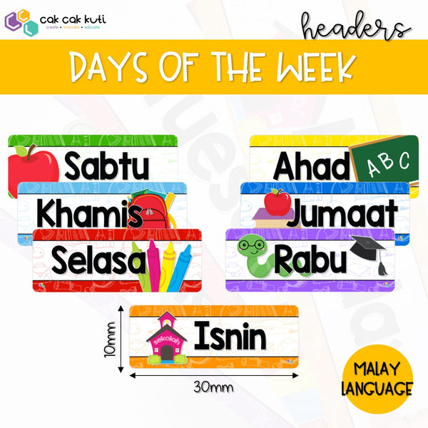D1001 - Days of the Week Headers (Malay)