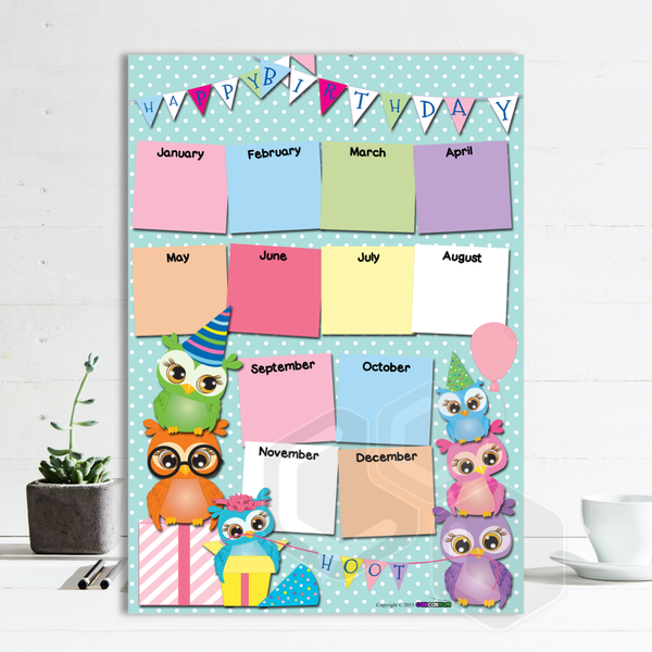 P2004 - BIRTHDAY OWLS POSTER