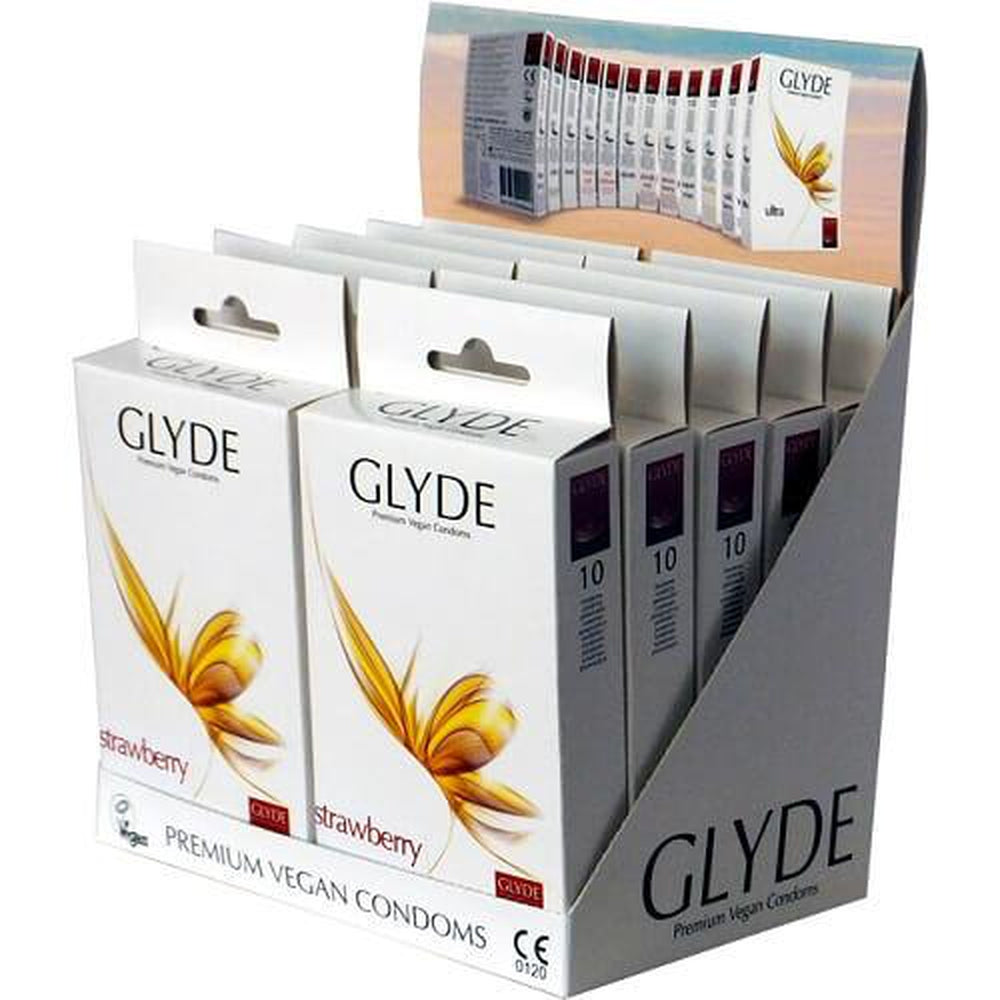 Glyde Ultra Strawberry Flavour Vegan Condoms Pack of 10 Red - The Condom People