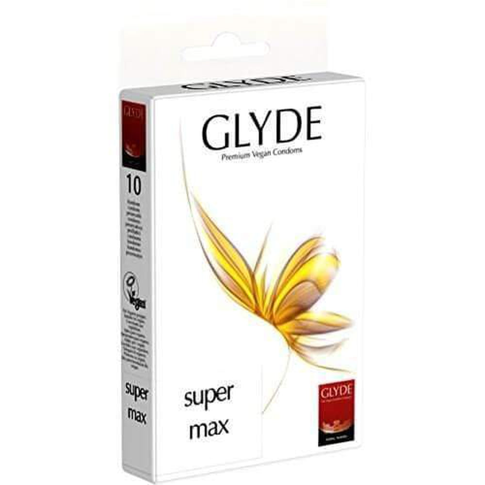 Glyde Ultra Super Max Vegan Condoms Pack of 10 Natural - The Condom People