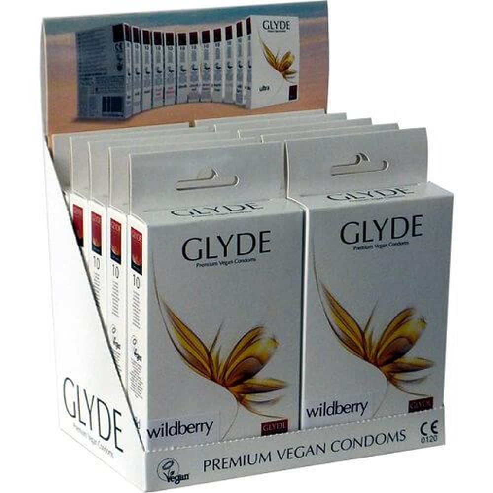 Glyde Ultra Wildberry Flavour Vegan Condoms Pack of 10 Purple - The Condom People