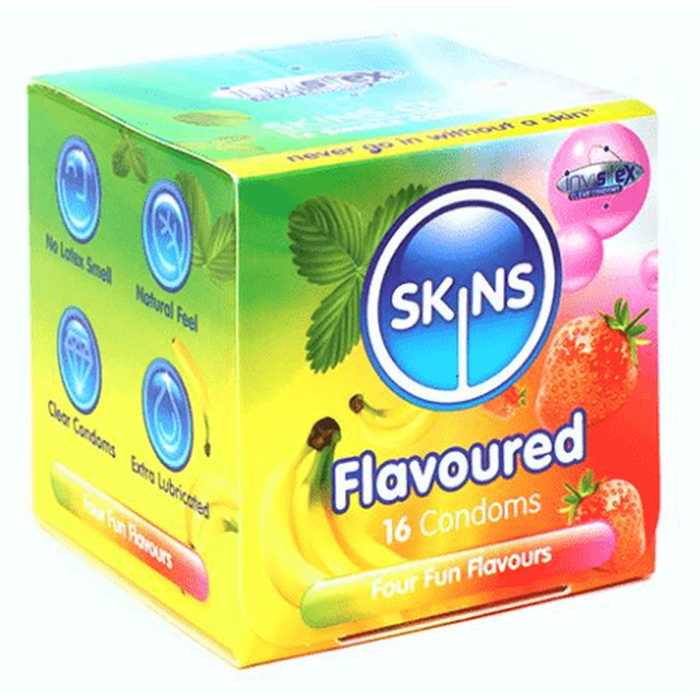 Skins Mixed Flavour Condoms Cube of 16 - The Condom People