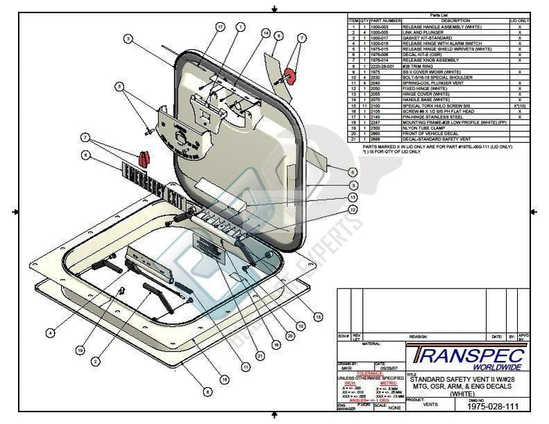 TNI 1975 028 111 02 SPECIALTY/TRANSPEC ROOF HATCH - buspartexperts.com