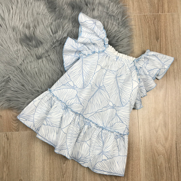 White Spanish Girls Dress With Blue Swirl Pattern