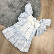 White Spanish Girls Dress With Blue Swirl Pattern 2
