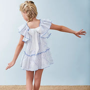 White Spanish Girls Dress With Blue Swirl Pattern rear
