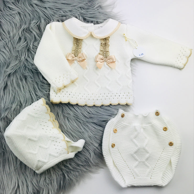 Cream and Beige Knitted Jam Pant Set